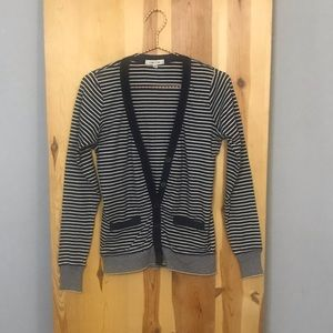 Navy Blue and White Striped Sweater
